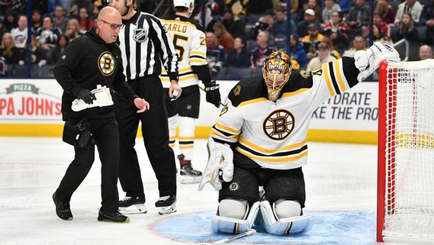 Rask leaves Bruins game with injury, emergency backup called