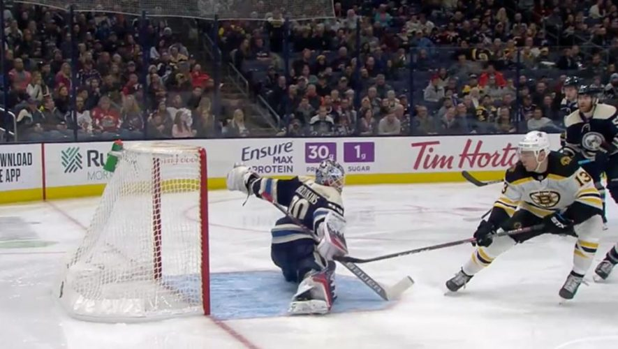 Merzlikins gets second shutout in row in Blue Jackets win against Bruins