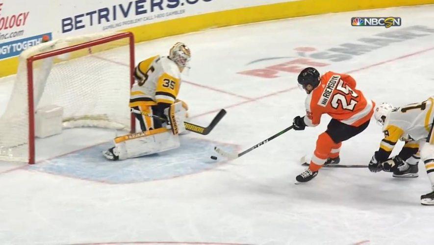 Elliott makes 19 saves, Flyers shut out Penguins