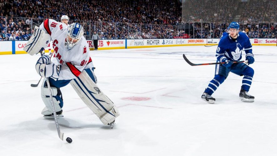 Hurricanes defeat Maple Leafs with emergency goalie