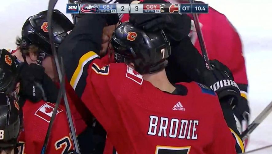 Brodie scores with 11 seconds left in OT, Flames defeat Blue Jackets