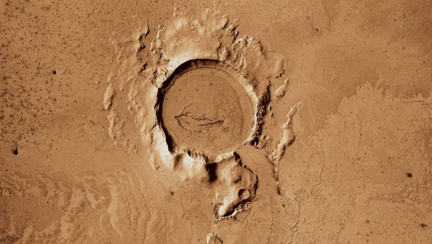 An asteroid strike may have popped the surface of Mars